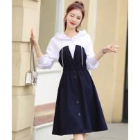 Dress Spring 2021 Tibetan and white S,M,L,XL,2XL Mid length dress singleton  Long sleeves commute Hood High waist Solid color Socket A-line skirt routine 25-29 years old Type A Mo Han Yimei Korean version Splicing M1CL2A14737 81% (inclusive) - 90% (inclusive) knitting polyester fiber