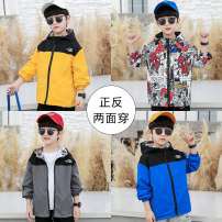 Plain coat Nalanpig / Nalan pig male 110cm,120cm,130cm,140cm,150cm,160cm Yellow, gray, blue spring and autumn leisure time Zipper shirt There are models in the real shooting routine No detachable cap Solid color chemical fiber Crew neck D-616