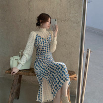 Dress Autumn 2020 Blue velvet suspender skirt with bubble sleeves S. M, average size Mid length dress singleton  Sleeveless commute High waist Broken flowers Socket other camisole 18-24 years old Type H Other / other Korean version 51% (inclusive) - 70% (inclusive) other other