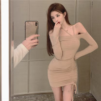 Dress Autumn 2020 Khaki, black Average size Short skirt singleton  Long sleeves commute One word collar High waist Solid color Socket other routine Hanging neck style 18-24 years old Korean version 51% (inclusive) - 70% (inclusive)