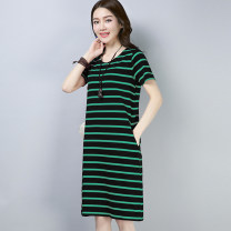 Dress Summer of 2018 M,L,XL,2XL,3XL,4XL Mid length dress singleton  Short sleeve commute Crew neck Loose waist stripe Socket routine 18-24 years old literature 30% and below hemp