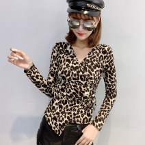 T-shirt Plush picture color leopard, picture color Leopard S,M,L,XL,2XL,3XL Winter of 2019 Long sleeves V-neck Self cultivation Regular routine street polyester fiber 86% (inclusive) -95% (inclusive) 25-29 years old classic Wind whispers F79DT0915 Asymmetric printing pleated stitching lace up