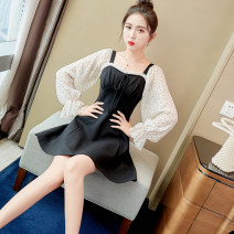 Dress Spring 2021 black XS,S,M,L,XL Short skirt singleton  Long sleeves commute square neck High waist Solid color zipper A-line skirt pagoda sleeve Others 25-29 years old Type A The charm of clothes Korean version