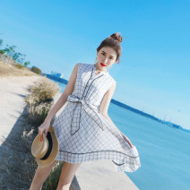 Dress Summer 2021 white XS,S,M,L Mid length dress singleton  Sleeveless commute Crew neck High waist lattice Three buttons Big swing Others 25-29 years old Type X Korean version 81% (inclusive) - 90% (inclusive) other hemp
