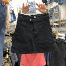 skirt Summer 2021 S,M,L,XL black Short skirt commute High waist A-line skirt Solid color More than 95% Denim Ocnltiy Korean version