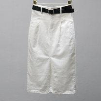 skirt Summer 2021 S,M,L,XL,2XL White, black, beige longuette commute High waist Denim skirt Solid color Type H 25-29 years old More than 95% Denim Ocnltiy cotton pocket Korean version