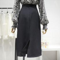 skirt Summer 2021 S,M,L,XL Black, green longuette commute High waist A-line skirt Solid color Type A 18-24 years old More than 95% other Ocnltiy Korean version