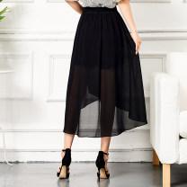 skirt Summer of 2018 M,L,XL,2XL,3XL,4XL Mid length dress Versatile High waist A-line skirt Solid color Type A 25-29 years old 91% (inclusive) - 95% (inclusive) Chiffon polyester fiber