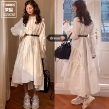 Dress Autumn 2020 white S,M,L,XL Mid length dress singleton  Long sleeves Sweet Polo collar Loose waist Solid color Single row two buttons Big swing shirt sleeve 18-24 years old Other / other Frenulum 81% (inclusive) - 90% (inclusive) college