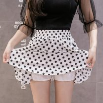 skirt Spring 2021 S,M,L,XL White dots, black dots Short skirt Versatile High waist A-line skirt Dot Type A 25-29 years old ZD 51% (inclusive) - 70% (inclusive) Chiffon IEF / aiyifu other fold