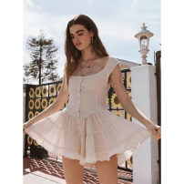 Dress Spring 2021 White, black S,M,L Short skirt singleton  Long sleeves commute One word collar High waist Solid color Socket A-line skirt routine 25-29 years old Type A Splicing Lace polyester fiber