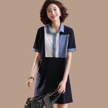 Women's large Summer 2020 Navy Blue Large L, large XL, 2XL, 3XL, 4XL, 5XL Dress singleton  commute Short sleeve Korean version Medium length Mo Mo in September