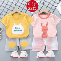suit Other / other 55 size 1-2 years old 73-80cm, 60 size 2-3 years old 80-90cm, 65 size 3-4 years old 90-100cm, 70 size 4-5 years old 100-110cm, 75 size 5-6 years old 110-120cm neutral summer motion Short sleeve + pants 2 pieces Thin money No model Socket nothing Cartoon animation children Class A