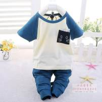 suit Other / other Dark blue, green 55 yards 3-6 months 59-66cm, 60 yards 6-12 months 6-1266-73cm male summer leisure time Short sleeve + pants 2 pieces routine No model Socket nothing Cartoon animation cotton children Expression of love Class A Cotton 100% Chinese Mainland
