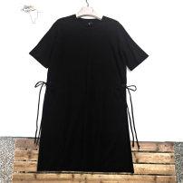 Dress Summer 2020 The black defect is a little obvious, black XS,S,L Short skirt singleton  Short sleeve commute Crew neck middle-waisted Solid color Socket Korean version 91% (inclusive) - 95% (inclusive) cotton