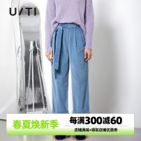 Casual pants Sky blue 34/155/S 36/160/M 38/165/L 40/170/XL Winter of 2019 trousers Overalls Natural waist street routine 25-29 years old 96% and above U/TI cotton pocket cotton Cotton 100% Same model in shopping mall (sold online and offline) Europe and America