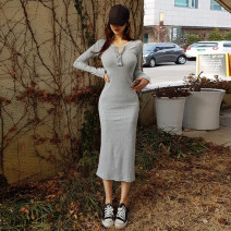 Dress Spring 2021 Gray, black S,M,L longuette singleton  Long sleeves commute Crew neck middle-waisted Solid color Socket One pace skirt routine Others 25-29 years old Type H Korean version Splicing 81% (inclusive) - 90% (inclusive) knitting cotton