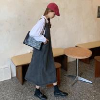 Dress Spring 2021 Black grey S (recommended 90-100 kg), m (recommended 100-110 kg), l (recommended 110-120 kg), XL (recommended 120-135 kg), 2XL (recommended 135-150 kg), 3XL (recommended 150-165 kg), 4XL (recommended 165-175 kg), 5XL (recommended 175-200 kg) longuette singleton  commute High waist