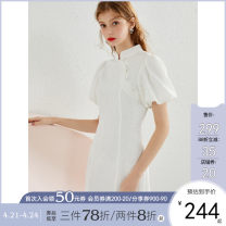 Dress Summer 2021 Black white pre sale XS S M L Short skirt singleton  Short sleeve Sweet stand collar middle-waisted Solid color zipper One pace skirt puff sleeve 25-29 years old Type H Kbne / Cabernet DSK1044LT321 More than 95% polyester fiber college Pure e-commerce (online only)