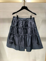 skirt Summer 2021 black Short skirt gorgeous High waist A-line skirt Solid color Type A More than 95% other Pinge Dixin other