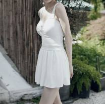 one piece  See description M,L,XL White, yellow Skirt one piece With chest pad without steel support female Sleeveless Casual swimsuit Pleating