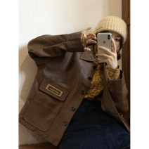 short coat Autumn 2020 S=1,M=2,L=3 Retro coffee Long sleeves routine routine singleton  Straight cylinder street routine Single breasted Solid color 25-29 years old PU leather