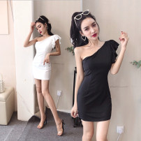 Dress Summer 2020 White, black S,M,L,XL Short skirt singleton  Sleeveless commute Slant collar middle-waisted Solid color Socket One pace skirt Oblique shoulder 18-24 years old Type X Other / other Korean version Open back, Ruffle