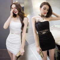 Dress Summer of 2019 Black, white S,M,L Short skirt singleton  Sleeveless commute One word collar middle-waisted Solid color zipper Breast wrapping 18-24 years old Type H Other / other Korean version Three dimensional decoration, mesh, lace Lace