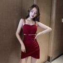 Dress Spring 2020 Red, black S,M,L Short skirt singleton  Sleeveless commute V-neck middle-waisted Solid color Socket One pace skirt camisole 18-24 years old Type H Korean version Hollow out, nail bead