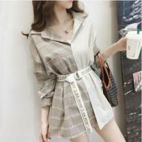 Women's large Autumn of 2019 Khaki, random lucky bag Large XL, large XXL, large XXL, large XXXXL, large L, M singleton  commute easy moderate Socket Long sleeves stripe Korean version Polo collar Medium length polyester Collage routine Other / other 18-24 years old Three dimensional decoration