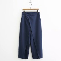 Casual pants Navy Blue S,M,L Autumn of 2018 trousers Wide leg pants High waist street XD14394599 Europe and America