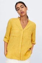 shirt yellow S,M,L Autumn of 2019 other 81% (inclusive) - 90% (inclusive) Long sleeves street V-neck Single row multi button NN14674899 pocket Europe and America