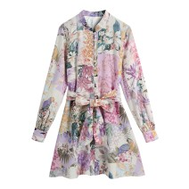 Dress Spring 2021 Decor XS,S,M,L Short skirt singleton  Long sleeves street Broken flowers 91% (inclusive) - 95% (inclusive) Europe and America