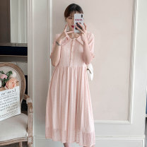Dress Nonakas Skin pink M,L,XL,XXL Korean version Short sleeve Medium length summer Lapel Solid color Lace N-3719