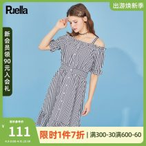 Dress Summer 2020 Check mix S M L Mid length dress singleton  Short sleeve commute One word collar High waist lattice Single breasted Ruffle Skirt routine camisole 18-24 years old Type A Puella Korean version Lotus leaf edge 2OOI4877 More than 95% other polyester fiber