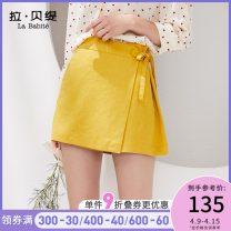 Casual pants turmeric S M L Summer of 2019 shorts Straight pants High waist commute routine 25-29 years old La Babite Korean version Bandage Viscose (viscose) 100% Same model in shopping mall (sold online and offline)