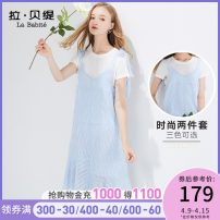 Dress Summer of 2019 Light blue nude black S M L Mid length dress Two piece set Short sleeve commute Crew neck High waist other Socket A-line skirt routine Others 25-29 years old Type A La Babite Korean version straps More than 95% other polyester fiber Polyester 100%