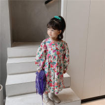 Dress Blue, apricot female THE KLDS MODEL 80cm,90cm,100cm,110cm,120cm,130cm,140cm Cotton 100% spring and autumn Korean version Long sleeves Broken flowers cotton other Xh200816 green frock dress 12 months, 18 months, 2 years old, 3 years old, 4 years old, 5 years old, 6 years old