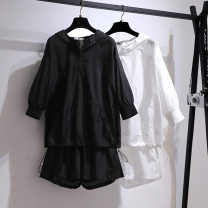 Women's large Spring 2021, summer 2021 Black suit, white suit 2XL (about 110-140 kg recommended), 3XL (about 135-165 kg recommended), 4XL (about 160-185 kg recommended), 5XL (about 180-210 kg recommended), 6xl (about 210-250 kg recommended) Other oversize styles Two piece set street easy thin Hood