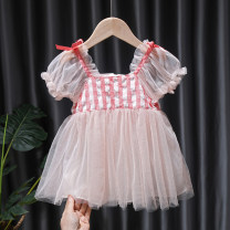 Dress Pink Fairy Dress female Tagkita / she and others 80, 90, 100, 110, 120, 130 Cotton 95% other 5% summer Korean version Short sleeve lattice cotton Fluffy skirt FHW736 12 months, 9 months, 18 months, 2 years old, 3 years old, 4 years old, 5 years old, 6 years old, 7 years old, 8 years old