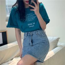 T-shirt Peacock blue, white, black, orange, pink, pink, orange One size fits all, XXS pre-sale Summer 2021 Short sleeve Crew neck easy Regular routine commute other 31% (inclusive) - 50% (inclusive) Korean version youth letter