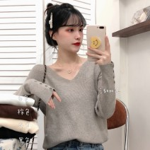 sweater Winter 2020 One size fits all, XXS pre-sale Apricot, white, black, brown, light brown Long sleeves Socket singleton  Regular other 51% (inclusive) - 70% (inclusive) V-neck Regular commute routine Solid color Self cultivation