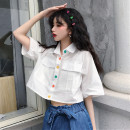 shirt White, black One size fits all, XXS pre-sale Summer 2020 other 96% and above Short sleeve Sweet Short style (40cm < length ≤ 50cm) Polo collar Single row multi button routine Solid color Straight cylinder Pocket, button college