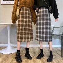 skirt Winter 2020 XXS,S,M,L,XL Coffee lattices, grey blue lattices Mid length dress commute High waist A-line skirt lattice Type A 51% (inclusive) - 70% (inclusive) other zipper Korean version