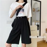 Casual pants Khaki, black S. M, l, XXS pre sale Summer 2020 Pant Wide leg pants High waist commute Thin money 51% (inclusive) - 70% (inclusive) Korean version pocket