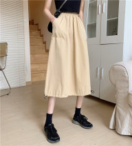 skirt Summer 2021 One size fits all, XXS pre-sale Khaki, white, black Middle-skirt commute High waist A-line skirt Solid color Type A pocket Korean version