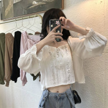 shirt White, black, khaki, pink, Matcha green One size fits all, XXS pre-sale Autumn 2020 other 51% (inclusive) - 70% (inclusive) Long sleeves commute Short style (40cm < length ≤ 50cm) square neck Socket puff sleeve Solid color Straight cylinder Korean version Frenulum