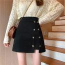 skirt Winter 2020 S. M, l, XL, XXS pre-sale black Short skirt commute High waist A-line skirt Solid color Type A 81% (inclusive) - 90% (inclusive) Korean version
