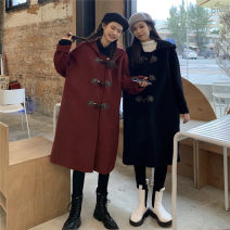 woolen coat Winter 2020 One size fits all, XXS pre-sale Black, Retro Red other 81% (inclusive) - 90% (inclusive) Medium length Long sleeves commute Single breasted routine Solid color Straight cylinder Korean version Button