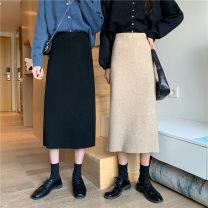 skirt Winter 2020 One size fits all, XXS pre-sale Khaki, off white, black, coffee longuette commute High waist skirt Solid color Type H knitting zipper Korean version